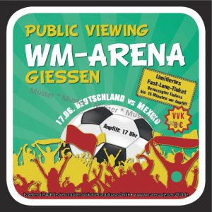 Public Viewing WM-Arena Bierdeckel-Rabatt-Aktion in Gießen